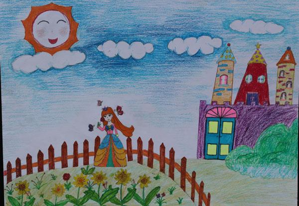 笔画图集图片_儿童蜡笔画_少儿图库_中国儿童-城堡的简笔画图片