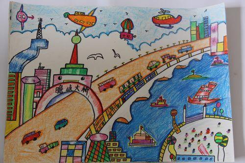 城市-蜡笔画图集图片_儿童蜡笔画_少儿图库_中国儿童