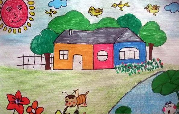 夏天-蜡笔画图集图片_儿童蜡笔画_少儿图库_中国儿童-一年级儿童画