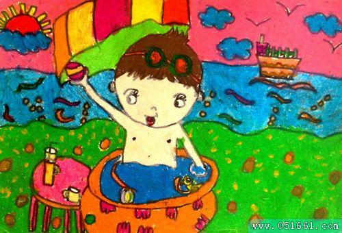 夏天-蜡笔画图集图片_儿童蜡笔画_少儿图库_中国儿童
