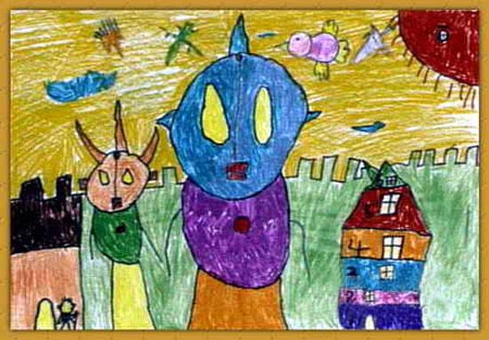 外星人-蜡笔画图集图片_儿童蜡笔画_少儿图库_中国