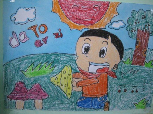 大头儿子-蜡笔画图集图片_儿童蜡笔画_少儿图库_中国