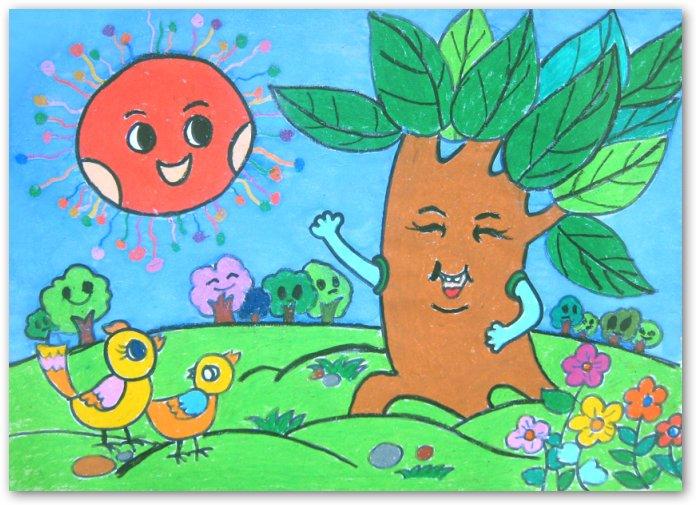 大树-蜡笔画图集图片_儿童蜡笔画_少儿图库_中国儿童