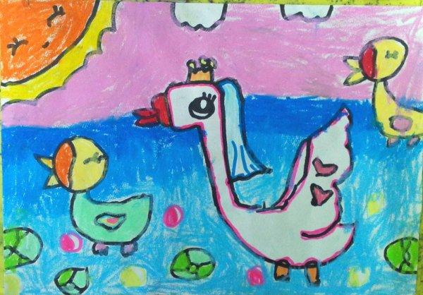 大白鹅-蜡笔画图集图片_儿童蜡笔画_少儿图库_中国