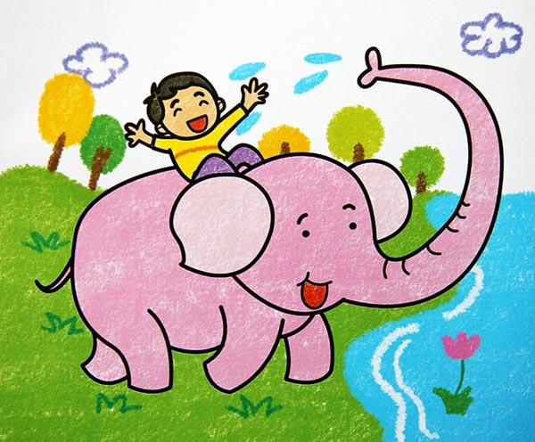 大象-蜡笔画图集