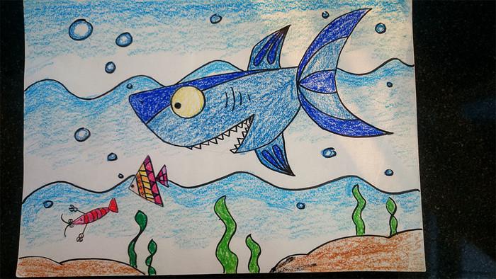 大鲨鱼-蜡笔画图集图片_儿童蜡笔画_少儿图库_中国