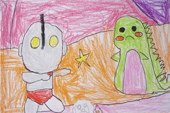 奥特曼与小怪兽-蜡笔画图集