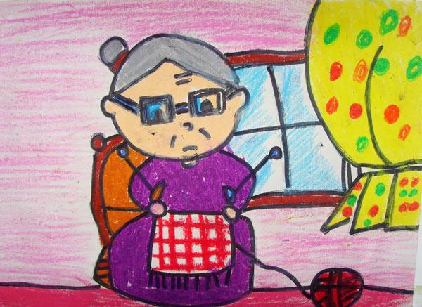 奶奶-蜡笔画图集图片