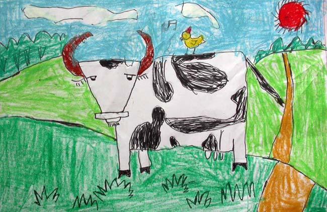 奶牛-蜡笔画图集图片_儿童蜡笔画_少儿图库_中国儿童