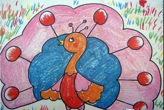 孔雀-蜡笔画图集图片_儿童蜡笔画_少儿图库_中国儿童