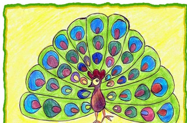 孔雀-蜡笔画图集