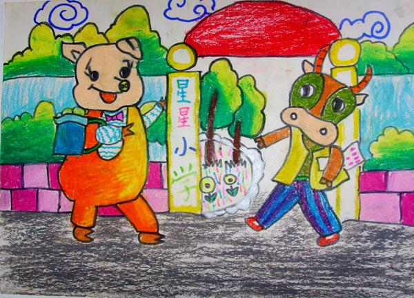 学校-蜡笔画图集