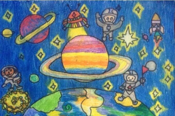 宇宙-蜡笔画图集图片_儿童蜡笔画_少儿图库_中国儿童