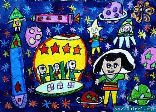 宇宙-蜡笔画图集图片_儿童蜡笔画_少儿图库_中国儿童图片