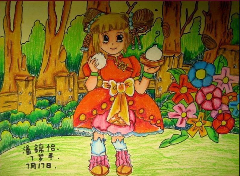 少儿图库 儿童蜡笔画 > 小女孩-蜡笔画图集
