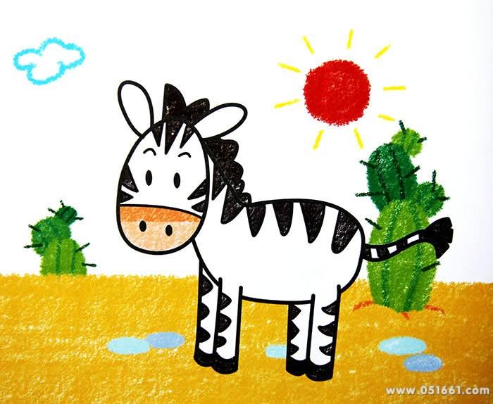 小斑马-蜡笔画图集图片_儿童蜡笔画_少儿图库_中国