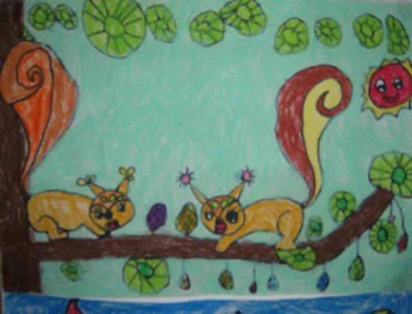 小松鼠-蜡笔画图集图片_儿童蜡笔画_少儿图库_中国