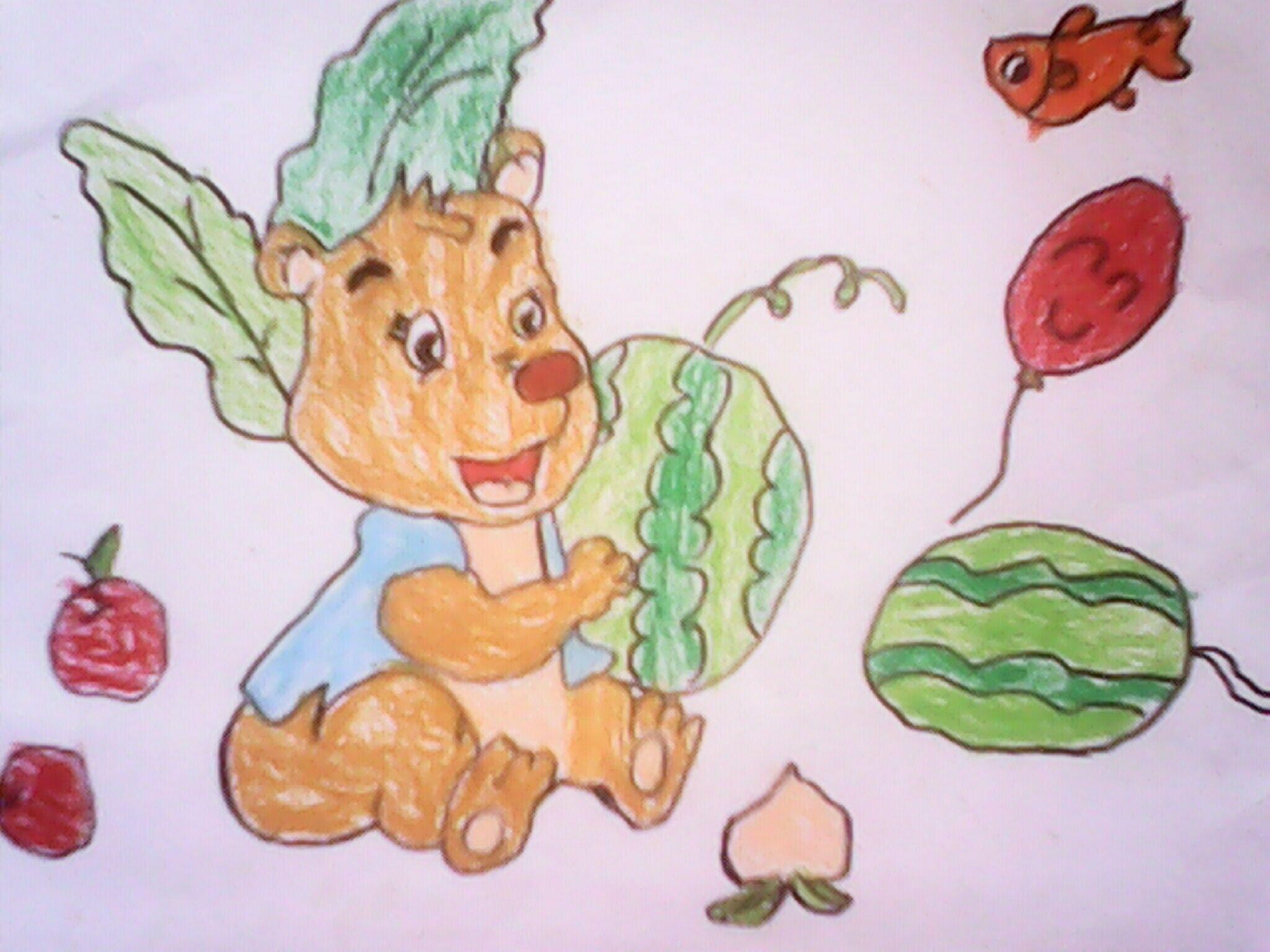 小熊-蜡笔画图集图片_儿童蜡笔画_少儿图库_中国儿童