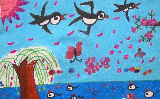 小燕子-蜡笔画图集
