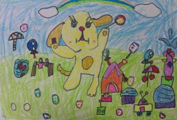 小狗-蜡笔画图集图片_儿童蜡笔画_少儿图库_中国儿童