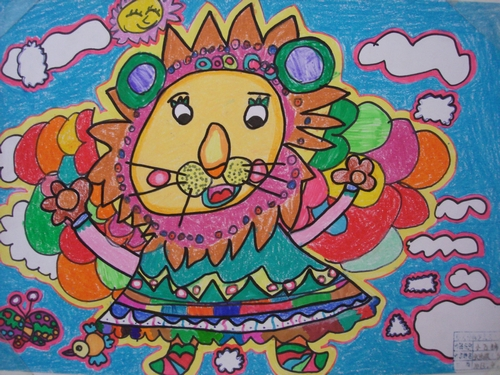 小狮子-蜡笔画图集图片_儿童蜡笔画_少儿图库_中国儿童资源网