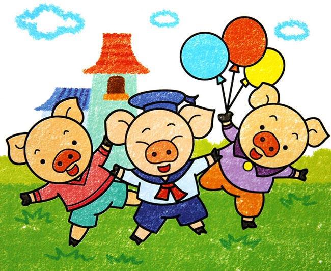 小猪-蜡笔画图集图片_儿童蜡笔画_少儿图库_中国儿童