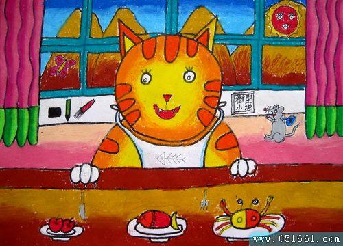 小猫-蜡笔画图集图片_儿童蜡笔画