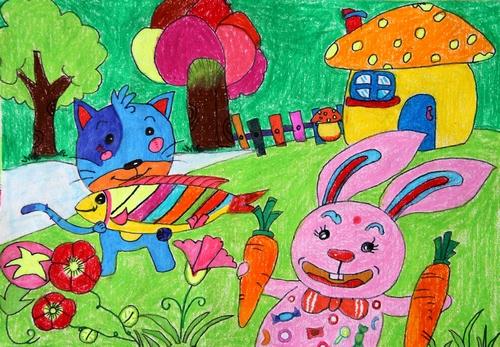 幼儿可爱的小白兔画