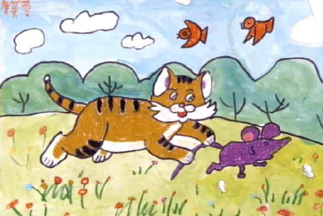 小猫-蜡笔画图集