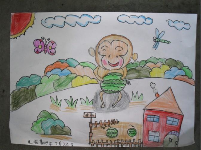 小猴子-蜡笔画图集图片_儿童蜡笔画_少儿图库_中国