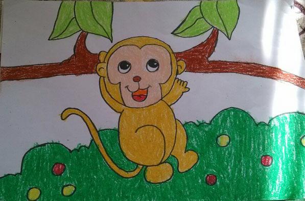 小猴子-蜡笔画图集