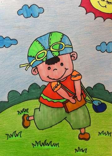 小男孩-蜡笔画图集图片