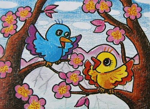 小鸟-蜡笔画图集图片_儿童蜡笔画_少儿图库_中国儿童