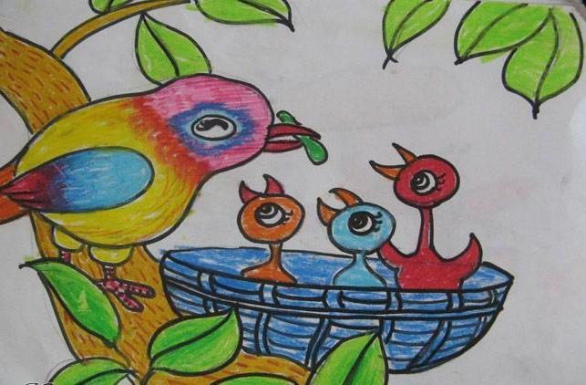 小鸟-蜡笔画图集图片