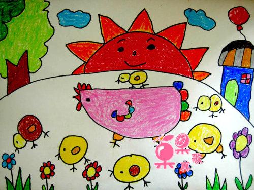 小鸡-蜡笔画图集图片_儿童蜡笔画_少儿图库_中国儿童资源网