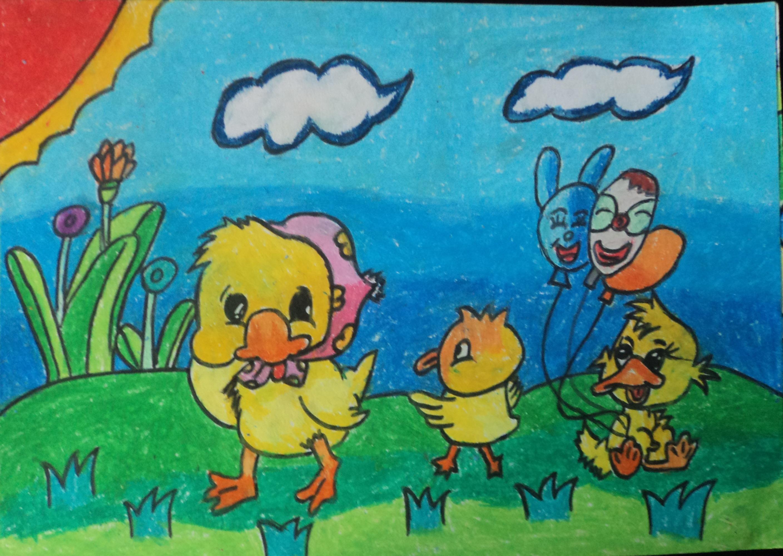小鸡-蜡笔画图集图片_儿童蜡笔画_少儿图库_中国儿童