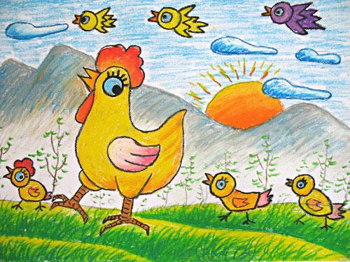 小鸡-蜡笔画图集图片