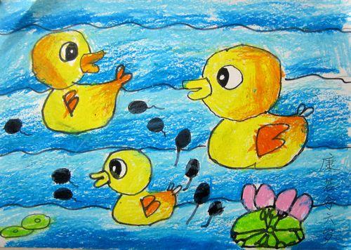 小鸭子-蜡笔画图集图片_儿童蜡笔画_少儿图库_中国