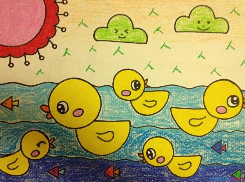 小鸭子-蜡笔画图集