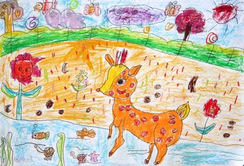 小鹿-蜡笔画图集