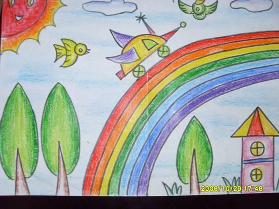 彩虹-蜡笔画图集图片_儿童蜡笔画_少儿图库_中国儿童-一家人 蜡笔画
