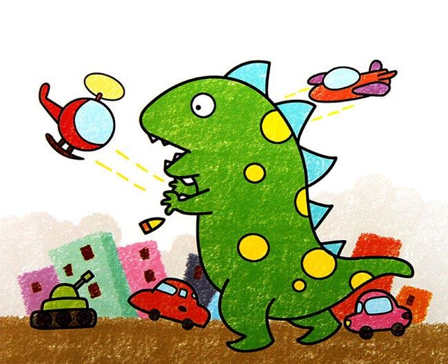 恐龙-蜡笔画图集图片_儿童蜡笔画_少儿图库_中国儿童资源网