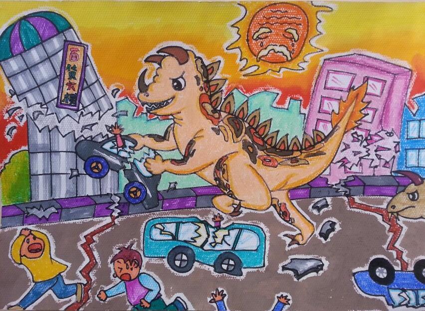 恐龙-蜡笔画图集图片_儿童蜡笔画_少儿图库_中国儿童