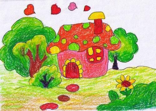 房子-蜡笔画图集图片_儿童蜡笔画_少儿图库_中国儿童图片