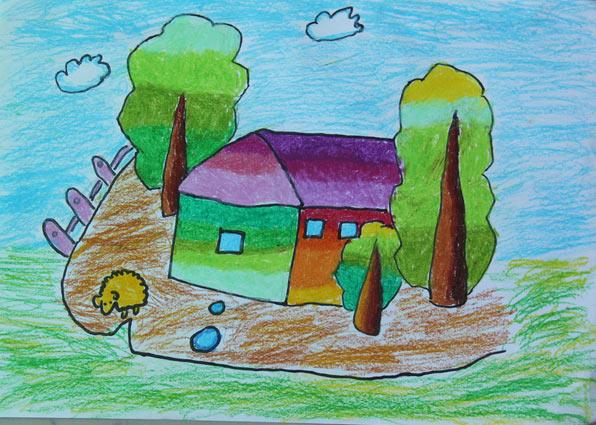 房子-蜡笔画图集