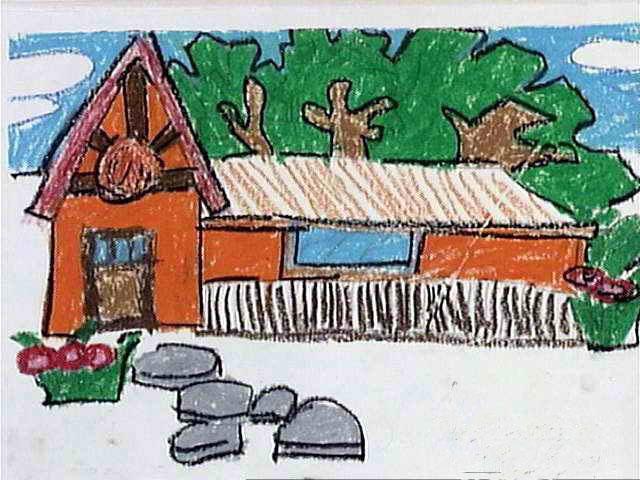 房子-蜡笔画图集图片_儿童蜡笔画_少儿图库_中国儿童