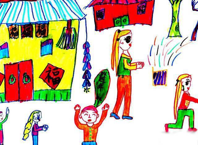 新年-蜡笔画图集图片_儿童蜡笔画_少儿图库_中国儿童