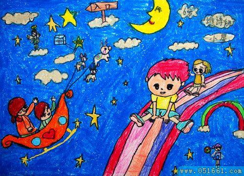 星星-蜡笔画图集