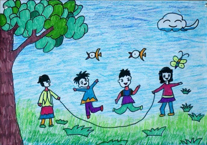 春天-蜡笔画图集图片_儿童蜡笔画_少儿图库_中国儿童