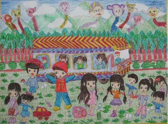 春游-蜡笔画图集